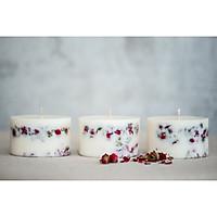 Combo 3 nến thơm cao cấp bằng sáp đậu nành với tinh dầu hoa hồng tự nhiên, trang trí hoa hồng thật, mỗi nến 250ml