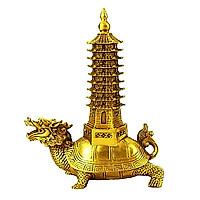 Tượng long quy rùa đầu rồng cõng tháp văn xương bằng đồng thau Size 16cm