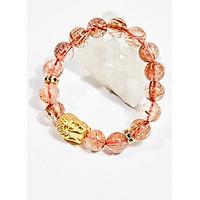Vòng tay phong thủy đá thạch anh tóc đỏ charm phật 11mm mệnh hỏa , thổ - Ngọc Quý Gemstones