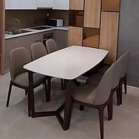 Bộ bàn ăn mặt đá gỗ sồi chân xương cá , ghế bọc da cleo