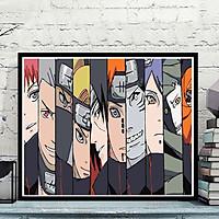 Tranh số hoá tự tô đã căng khung họa tiết các nhân vậ hoạt hình naruto kích thước 40x50cm, tranh tô màu theo số nhân vật atasuki anime naruto