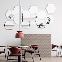 Bộ 12 miếng gương dán tường 3D hình lục giác 8x8 cm