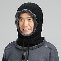 Mũ len trùm đầu liền khăn cổ lót lông ấm áp thích hợp cho nam nữ quà tặng ông bà mùa đông - mu len lot long