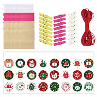 Christmas Gift Bag Set 24 Non-woven Bags + 24 Clips + 24 Cute Stickers + Long Red Rope 24 Days Surprise Gift Bag