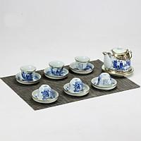 Bộ ấm chén men lam bọc đồng giả vuốt gốm sứ Bảo Khánh Bát Tràng - bình trà, bộ bình uống trà cao cấp