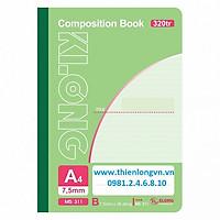 Sổ may dán gáy A4 - 320 trang; Klong 311 bìa xanh lá