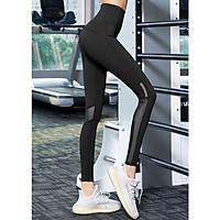 Quần tập gym, yoga nữ phối lưới Louro QL58, kiểu quần tập nâng mông cạp siêu cao qua rốn, chất liệu co giãn 4 chiều