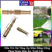 Đầu vòi xịt tăng áp mini bằng đồng có siết vòi đi kèm phun nước rửa xe, tưới cây tăng áp đa năng 206587