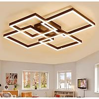 Đèn ốp trần Mica hiện đại 3 cánh vuông màu nâu cafe MO997 (có 3 màu ánh sáng)