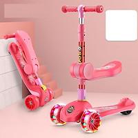 Xe trượt scooter 3 bánh an toàn cho trẻ em chịu lực 90kg phù hợp cho cả bé trai và gái, bánh xe phát sáng vĩnh cửu, rèn luyện vận động, tăng chiều cao cho bé