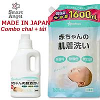 Combo Nước giặt cho bé Smart Angel Nhật Bản chai 800 ml và túi 1600 ml - An toàn tuyệt đối cho bé, Siêu tiết kiệm