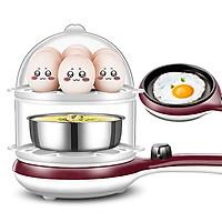 Nồi chiên nấu mini đa năng chống dính 2 tầng kèm lồng hấp inox, chảo rán tự động ngắt điện, máy ăn sáng ba trong một (Màu ngẫu nhiên)