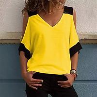 Women Summer Spliced T-Shirt Off Shoulder V Neck Half Sleeve Loose Casual Plus Size Blouse Top