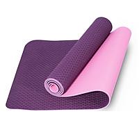 Thảm tập yoga TPE 2 lớp cao cấp tặng túi đựng thảm - Tím - SRV8800