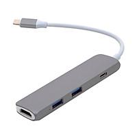 Cổng chuyển 4 in 1 Hyperdrive USB-C hỗ trợ HDMI 4K - GN22B - Hàng Chính Hãng - Hàng Chính Hãng