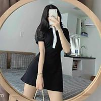 Váy Polo Đen Viền Cổ Trắng Siêu Xinh Hot Dành Cho Nữ