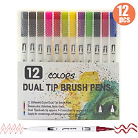 Dual Tip Brush Pens Art Markers Set Flexible Brush & 0.4mm Fineliner Tips Watercolor Color Pens Perfect for