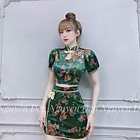 set trang phục cổ tàu kèm váy viền thời trang mặc tết tết họa tiết hoa in 3d chuyển nhiệt