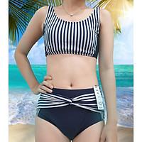 Bikini Hai Mảnh Croptop Thể Thao, Đồ Bơi Nữ Đi Tắm Biển Hai Mảnh Gợi Cảm, Phối Kẻ Sọc, Trẻ Trung, Năng Động iBasic BWWset002 - Hàng Chính Hãng