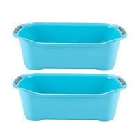 Combo Khay đựng đồ nhà tắm có lỗ thoát nước màu xanh