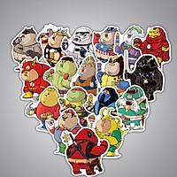 Bộ 32 miếng Sticker hình dán Siêu anh hùng béo phì