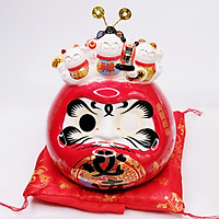 Daruma sứ Jinshi 3 Mèo Thần tài 20cm
