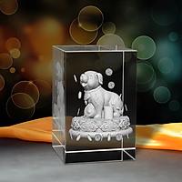 Tượng 3D Con Chó (Tuất) - Trang Trí Xe Ô tô/ Bàn Làm Việc - Bằng Pha Lê