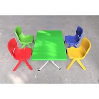 bộ bàn ghế mầm non chân gấp chắc chắn, cao cấp (1 bàn nhựa xanh chân sắt, 4 ghế tựa Song Long- màu ngẫu nghiên)