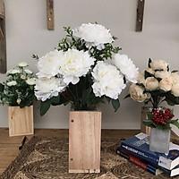 Bình Hoa Giả - Hoa Mẫu Đơn Nở Cao Cấp - Hoa Vải Để Bàn