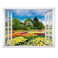 Decal cửa sổ cảnh đẹp vườn hoa VT0373