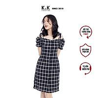 Váy Đầm Chữ A K&K Fashion KK99-32 Họa Tiết Caro Chất Vải Linen