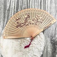 Quạt cổ trang gỗ thơm in hình PHƯỢNG HOÀNG quạt xếp cầm tay phong cách Trung Quốc