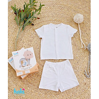 Bộ quần áo sơ sinh cho bé vải gỗ sồi siêu mềm mịn cao cấp - đồ sơ sinh cho bé (2,5kg - 15kg) - bộ cộc tay cho bé Haki BM001