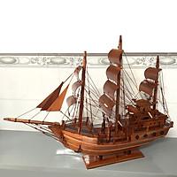 Mô hình tàu thuyền gỗ trang trí thuận buồm xuôi gió - Buồm gỗ - Thân tàu dài 60cm