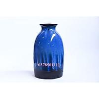 Bình hoa Bát tràng men hỏa biến xanh dáng sake S2