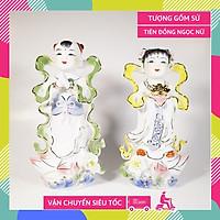 Cặp tượng Tiên Đồng Ngọc Nữ trên bàn thờ Phật gốm sứ vẽ màu sắc siêu đẹp - Cao 26cm