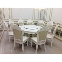 Bàn ăn mặt đá  tròn cổ điển trắng  - 10 ghế - nhập khẩu Malaysia