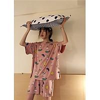 Bộ đồ mặc ở nhà vải cotton co dãn 4 chiều thoáng mát, rộng, cạp chun, mềm kiểu dáng đẹp, dễ thương họa tiết in hoạt hình freesize<55kg