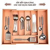Khay chia ngăn kéo tủ bếp có thể kéo giãn cao cấp, khay chia muỗng đũa thìa dĩa bằng gỗ, khay đựng muỗng đũa Nhatvywood NV5303
