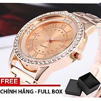 Đồng hồ nữ viên kim cương dây thép chống gỉ tặng kèm hộp XTHT 10