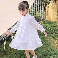Váy trắng cao cấp cực xinh cho bé gái - Váy đầm dài tay mùa xuân