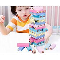 Bộ đồ chơi rút gỗ thông minh, phát triển trí tuệ cho bé Wood toys 51 thanh  kèm 1 xúc xắc – Tặng sét 102 Chữ Cái Alphabet gỗ mộc