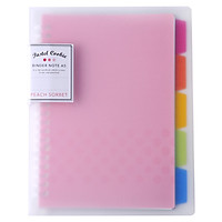 Kokuyo WSG-RUCP12P Pink Cover Loose-leaf Notebook with 40 A5 Colorful Pages and Separator Pages in 5 Colors