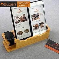 Kệ đỡ Giá đỡ điện thoại đôi và đồng hồ đa năng bằng gỗ Tre - Đặc biệt dùng cho Iphone Apple Watch