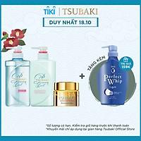 Bộ Ba Gội Xả Tsubaki Premium Cool Sạch Dầu Mát Lạnh (490ml/chai) và Mặt Nạ Tóc 180g