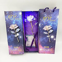Quà 20/10 - Hoa hồng galaxy phát sáng có chân đế love