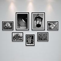 Khung Ảnh Treo Tường Trang Trí Quán Cafe (Cà Phê) Phong Cách Trắng Đen, Vintage Tặng Kèm bộ ảnh như hình mẫu, đinh treo tranh và sơ đồ treo - PGC289