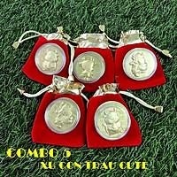 Combo 5 đồng xu con Trâu cute tặng túi gấm 2021 (giao mẫu ngẫu nhiên), đường kính đồng xu 4cm, mang lại may mắn, tài lộc, dùng làm quà tặng Lễ, Tết may mắn, ý nghĩa - TMT Collection - SP005112