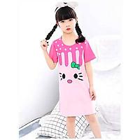 Đầm ngủ cho bé gái 4-10 tuổi hình mèo đáng yêu – DN004