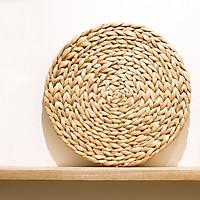 Bộ 4 Tấm lót dĩa bàn ăn đan bằng lục bình - Đường kính 37cm - Đồ Thủ công mỹ nghệ trang trí bàn ăn